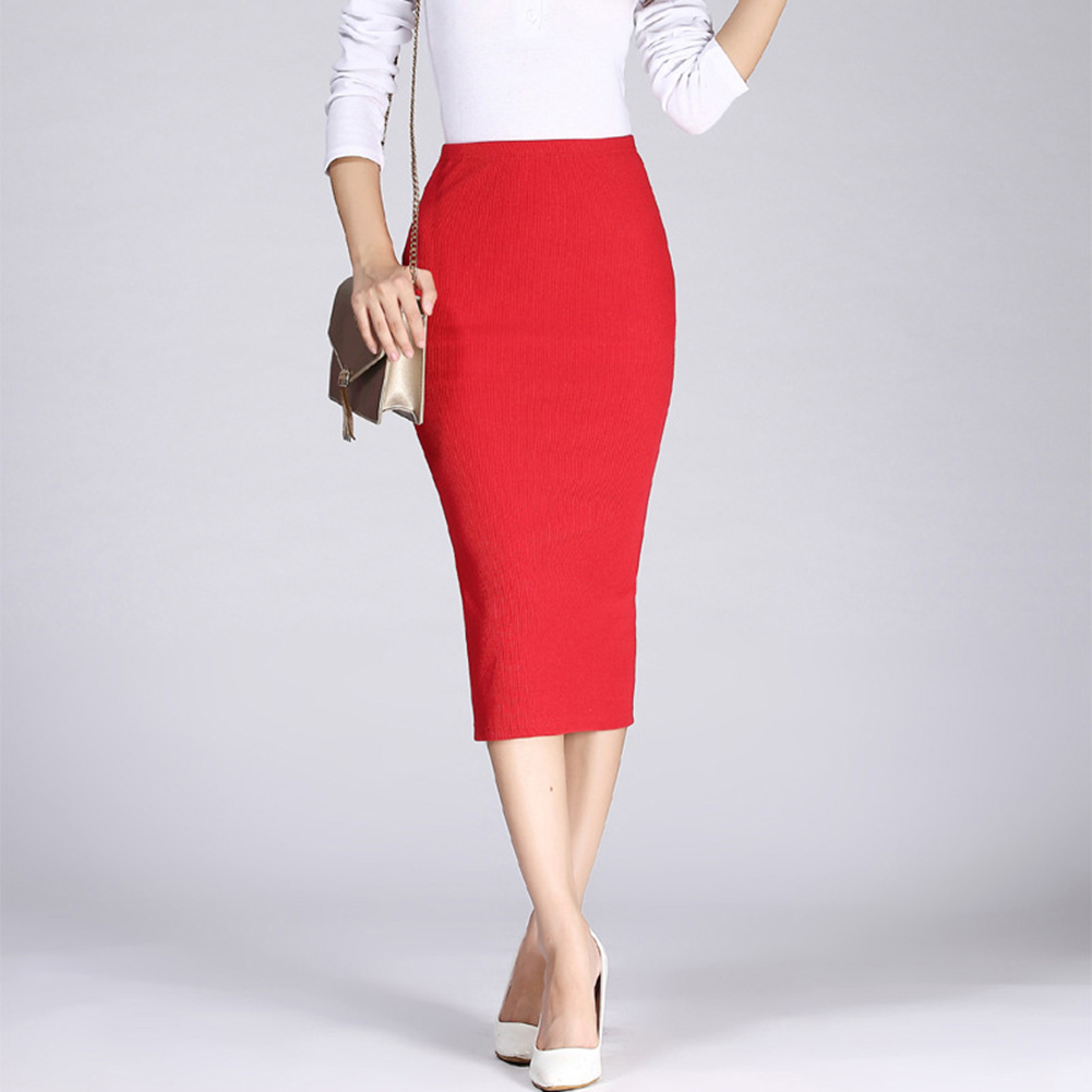 2020 Summer Stretch Slim Knitted Skirts Women High Waist Elastic Package Hip Mid-Calf solid Pencil Skirt Lady Rib Maxi Skirts
