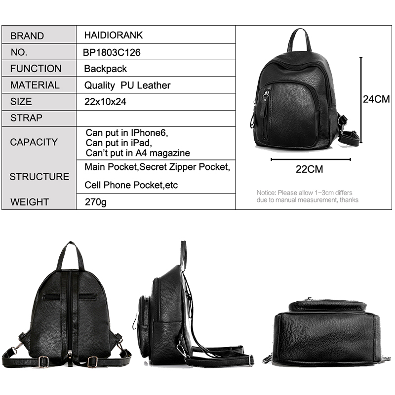 Women s Backpack 2018 Casual Little Backpacks For Teenage Girls PU Leather  Bag Waterproof Small BagPack Mini Backpack-in Backpacks from Luggage   Bags  on ... 2e0c84ef72c05
