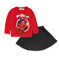 2018 Miraculous Ladybug Costume Kids For Girls Spring Clothes Long Sleeve Cartoon Red Sweater Balck Skirt