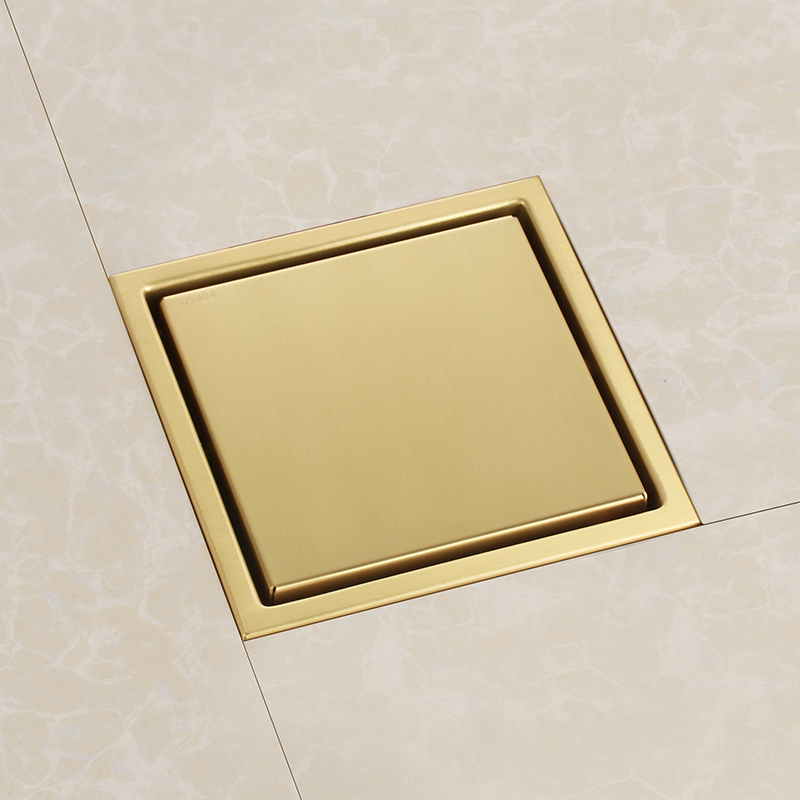 Bathroom gold stainless steel 150 x 150mm Odorless Invisible Floor Drain square shower room golden shower drainer cover Bathroom gold stainless steel 150 x 150mm Odorless Invisible Floor Drain square shower room golden shower drainer cover