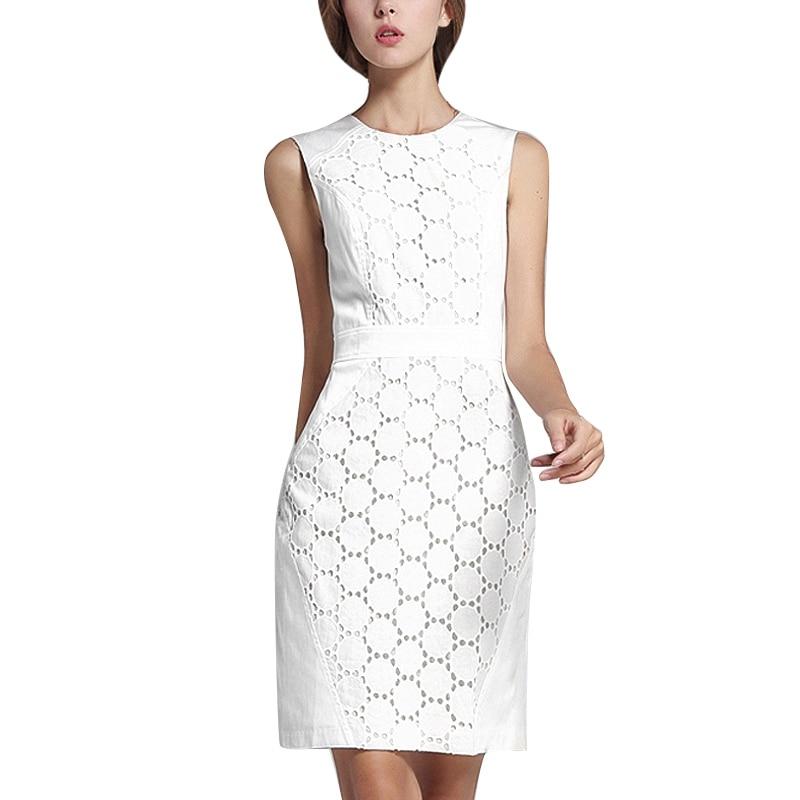 WEIXINBUY летний сарафан для женщин пикантные кружево зауженное облегающее без рукавов платья для Модные Элегантные Белый Свадебная вечеринка ...
