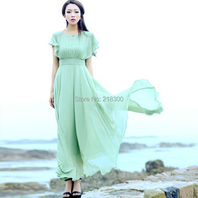 3441a3242ff03 الضوء الأخضر قصيرة الأكمام الشيفون ماكسي فستان الصيف عطلة فساتين الكاحل طول