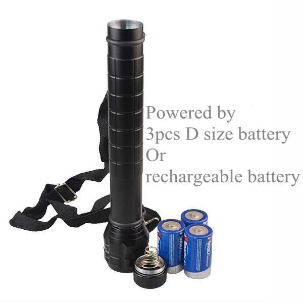 Heavy Duty Torch Light Xp E Q5 Led Photo Lamp D Size Battery Metal