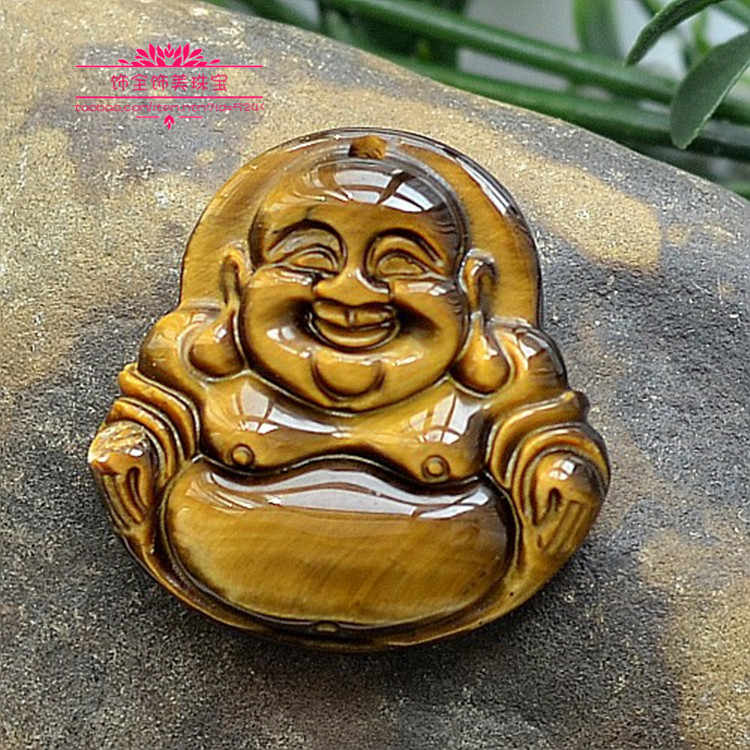ธรรมชาติหยก Maitreya พระพุทธรูปจี้ของแท้ Tiger EYE ผู้ชาย pseudocrocidolite เงินจี้โอปอลจี้ + จี้เชือก