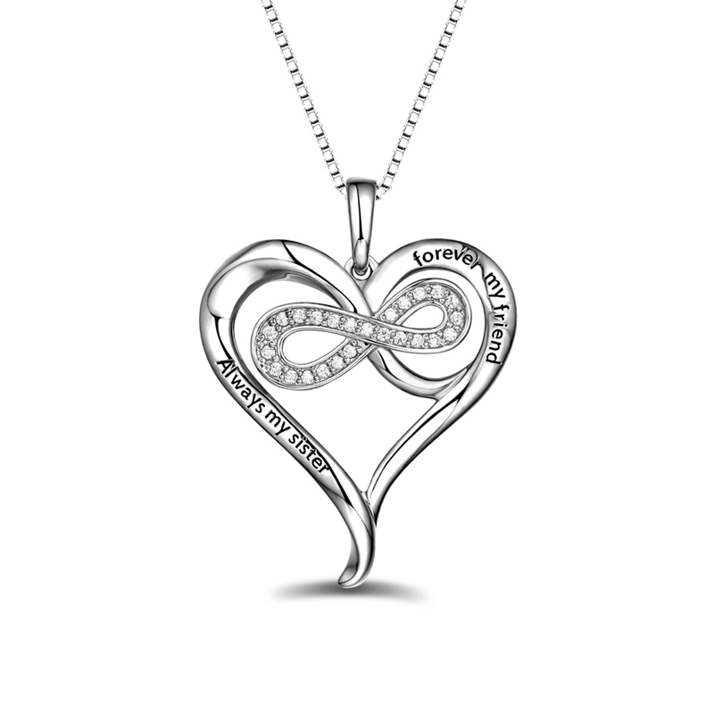 AILIN Personalized Sterling Silver Infinity Heart Necklace Love Necklace For Your Mother цена и фото