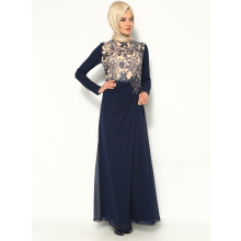 2017 Muslim Evening Dresses A-line Long Sleeves Navy Blue Embroidery Hijab Dubai Abaya Kaftan Long Evening Gowns Lace Prom Dress