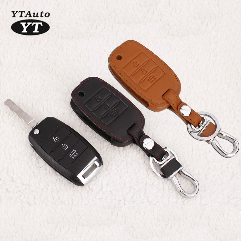 Carkey Cover Genual Leather Key Case Voor KIA Sorento 2015 Car Protect Shell For Folding Key YT-80415-1