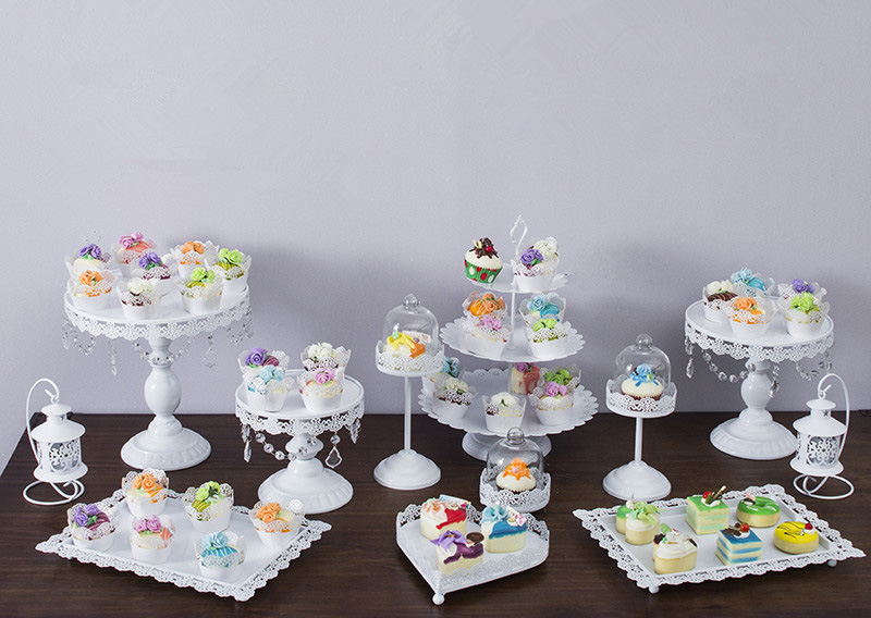 12pcs/set White cake stand wedding cupcake stand set glass dome ...