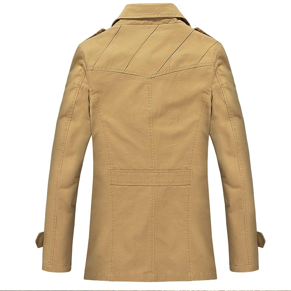 Autumn Wnter New Medium Long Trench Coat For Men Slim Fit Plus Size Thick Warm Veste Longue Homme