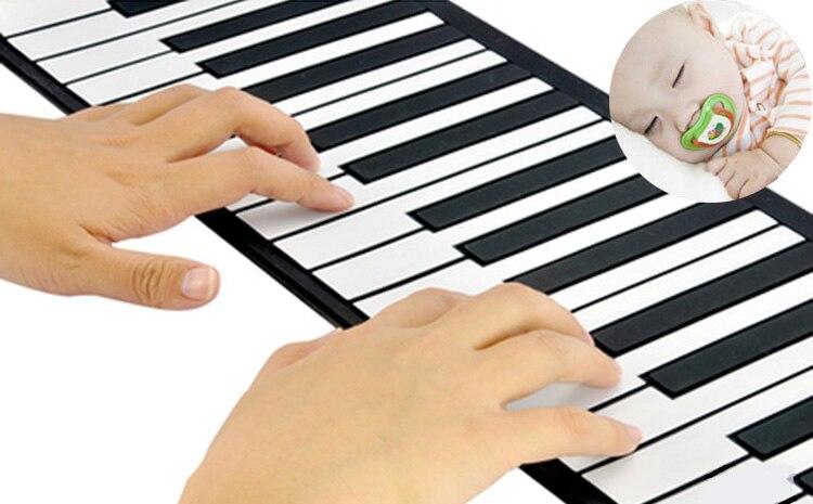 Enfants jouets musicaux pour enfants piano pratique lecteur 49 clavier Portable pliant doux enfants début débutant Instrument avec haut-parleur - 3