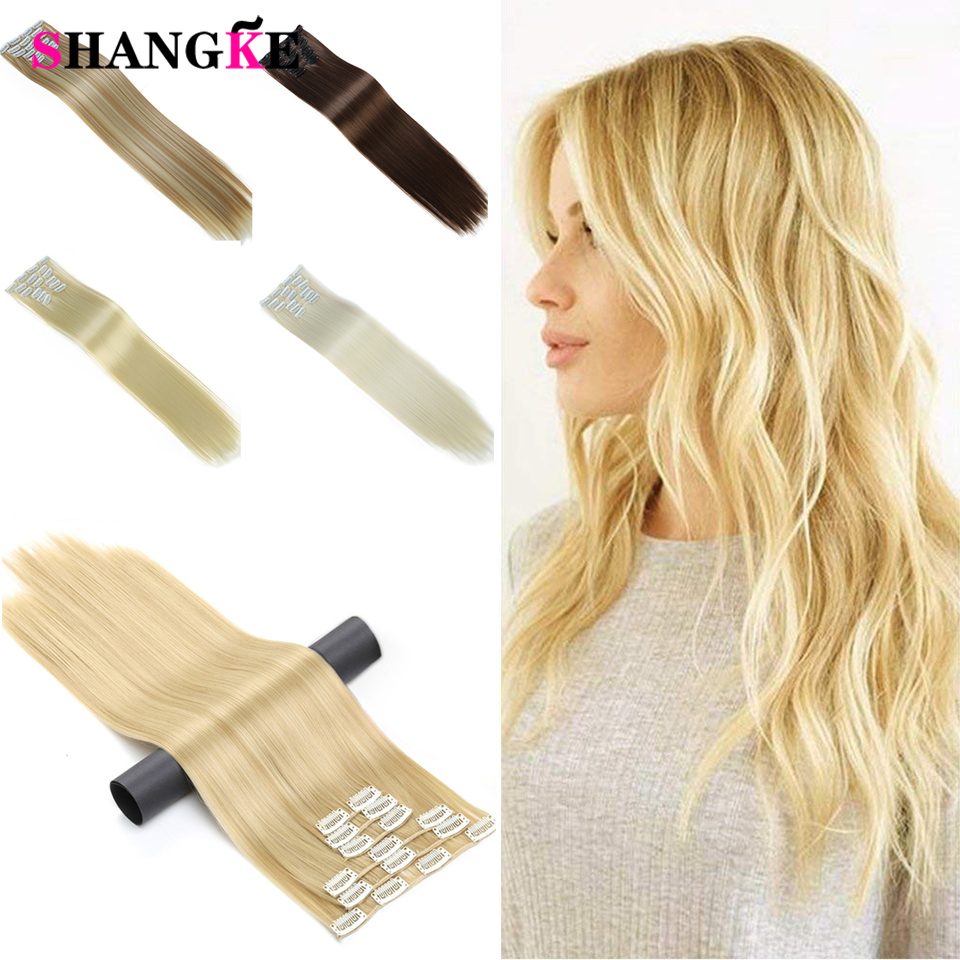 SHANGKE 24'' Long Straight Hair Extension 6 pcs/set 16 Clips Heat Resistant Synthetic Hairpieces False Hair Pieces