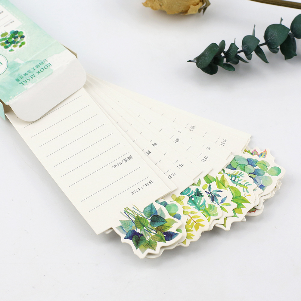 30Pcs/box Green Plants Cute Cartoon Paper Bookmarks Message Card Gifts Cards Kids Craft Irregular Bookmark Kawaii Stationery
