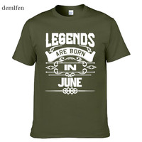 Summer Mens Print T Shirt Legends Are Born In June T Shirt Funny Birthday Gift Dad