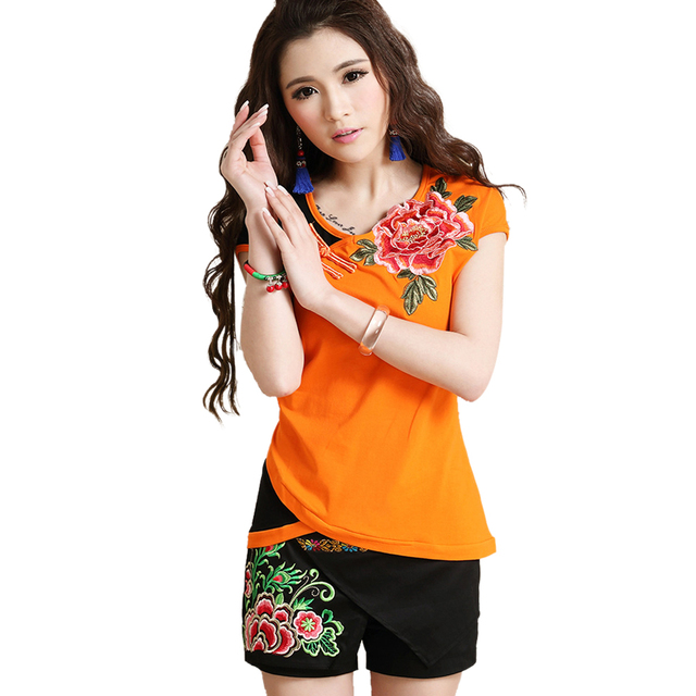 2017 Summer Short Sleeve Women Blouse Shirt Cotton Pullover Blusas Feminina Vintage Embroidery Casual Body Tops Tee Clothing