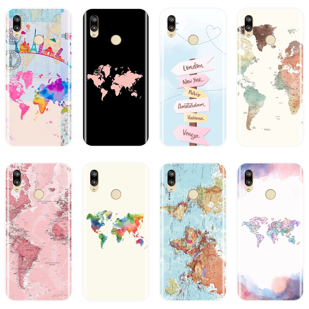 TPU Back Cover For <font><b>Huawei</b></font> P9 P10 Plus <font><b>P20</b></font> <font><b>Lite</b></font> Pro P <font><b>Smart</b></font> Soft Silicone World Map Phone <font><b>Case</b></font> For <font><b>Huawei</b></font> P8 P9 P10 <font><b>P20</b></font> <font><b>Lite</b></font> 2017 image