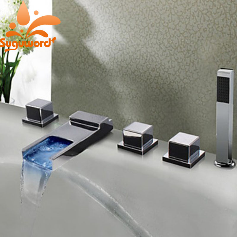 LED Changing Colors Waterfall Spout Bathtub Fuacet 3 Handles Mixer Tap with Hand Shower Chrome Finish