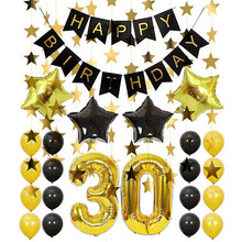 8-Season Black Gold 30 Number Pentagram Foil Balloon Birthday Party Decoration Table Anniversaire Balloons Banner Happy
