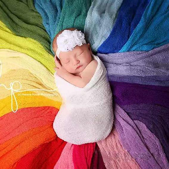Hecho a mano 20 colores recién nacido foto Prop envolturas, Mohair punto suave estiramiento fotografía Prop, envoltura elástica para bebé de palomitas de maíz blancas