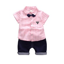 цена на 2018 Summer Children Clothing Suit Boy Short-sleeved Striped Shirt + Pants Shorts Two Suit Baby