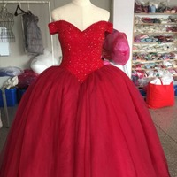 Real Photo Luxury Ball Gown Red Wedding Dresses New Design With 1 Meter Train