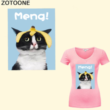 ZOTOONE Cartoon Cat In Love Iron-on Transfer Patch Baby Letters Hot Vinyl Press Sticker DIY Dress Kids Clothing Accessory E