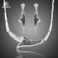 AZORA Unique Fashion Design Stellux Austrian Crystal Zebra Veins Drop Earrings And Pendant Necklace Jewelry Set
