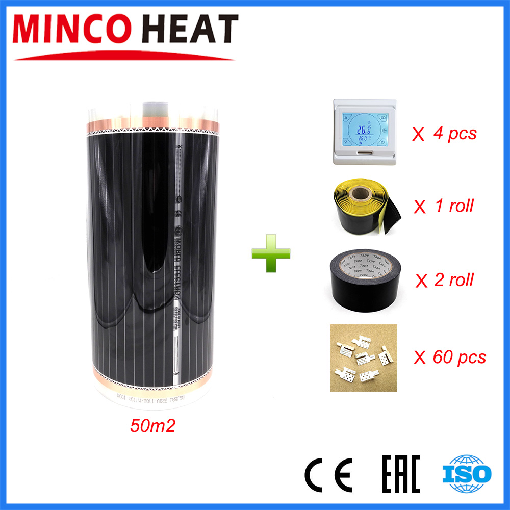 50 Square Meters Electric Floor Heating Mat Infrared Radiant Heat Film Mat with Room Thermostats Clamps