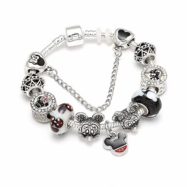 7ad18e0f4 Animal Mickey Mouse Charm Bracelets & Bangle For Women Fashion Original DIY  Minnie Charms Pandora Bracelet