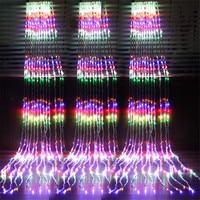 Comprar Thrisdar 6X 3M 3X6M cascada efecto cortina cadena luz guirnalda vacaciones Navidad fondos de fiesta de