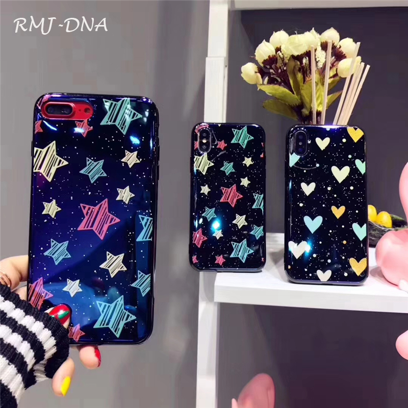 RMJ-DNA Smile Star Phone Case For iphone 7 6 6s 8 Plus Lovely Blue Light Moon Night Starry sky Soft Cases For iphone X Back Cove