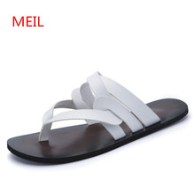 купить Summer Sandals Men Shoes Leather Slippers Men Beach Sandals Flip Flops Men Sapato Masculino Terlik Leather Sneakers Chinelo дешево