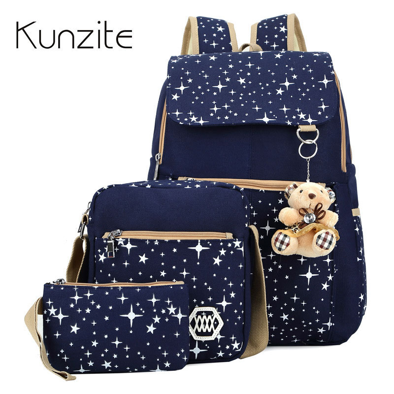 3 Pcs/Set Backpacks Star School Teenage Girls Printing Canvas Backpacks Ladies Mochila Hot