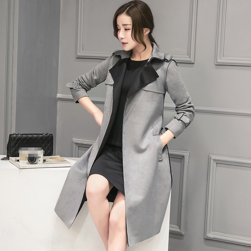 Collar Warm Full Realshe Suede Belt Sleeve New Coat Gray Casual Waist down Coats Turn 2017 Autumn Winter Outwear Trench Women 6qf6U