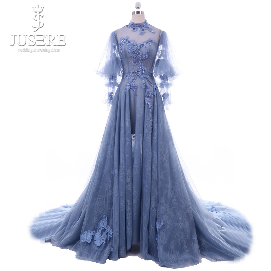 Jusere High Neck Long Sleeves Illusion Bodice A line Lace Skirt Flower Hand  Made Train Newest 49d3df07c1d9