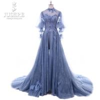 Jusere Высокая шея одежда с длинным рукавом Иллюзия лиф линия кружева юбка цветок ручной работы поезд новые фея синий вечернее платье 2018