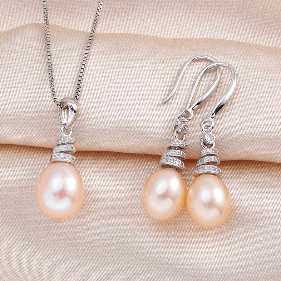 925 sterling silver !! Natural Freshwater Pearl Jewelry Sets For Women Vintage 4 Colors Natural Pearl Pendant Set Earings Lindo