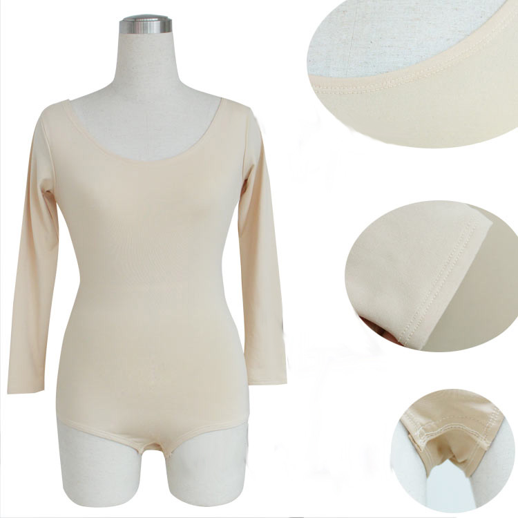 2 Colors Long Sleeves Spandex Ballet Tops Skin Color Underwear Lady Dance Leotard Women Adults Gymnastic Nude Leotard Dance Wear