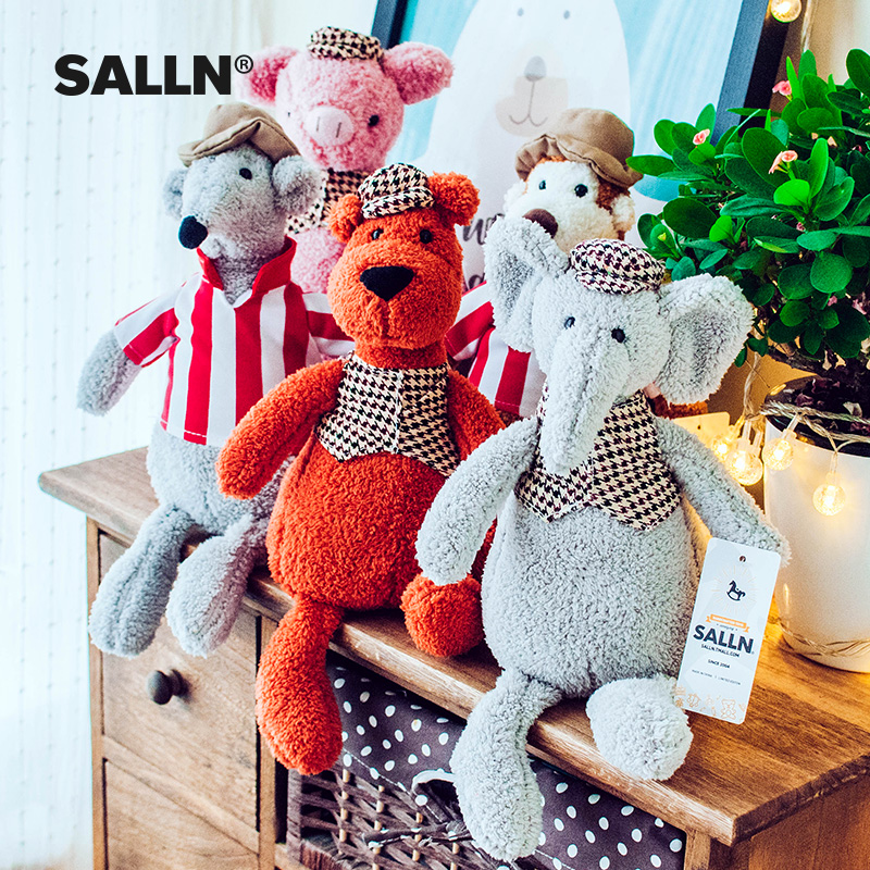 33CM Cute Pig plush toys Elephant Goose Mouse Dog Fox Monkey& Cat Simulation Animal Plush baby Doll accompany sleep toy