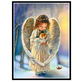 Needlework DIY DMC 14CT unprinted Cross stitch kits For Embroidery  Winter Angel  Counted Cross-Stitching embroidered