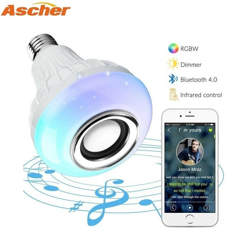 E27 Bluetooth Music Lamp Smart RGB RGBW Wireless Speaker Bulb 220V 12W LED Light Player Dimmable Audio 24 Keys Remote Controller