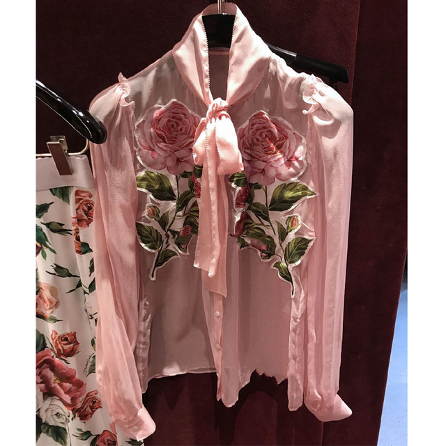 Designer Luxury Shirts for Women Rose Print Transparent Pink Chiffon Blouse Tops