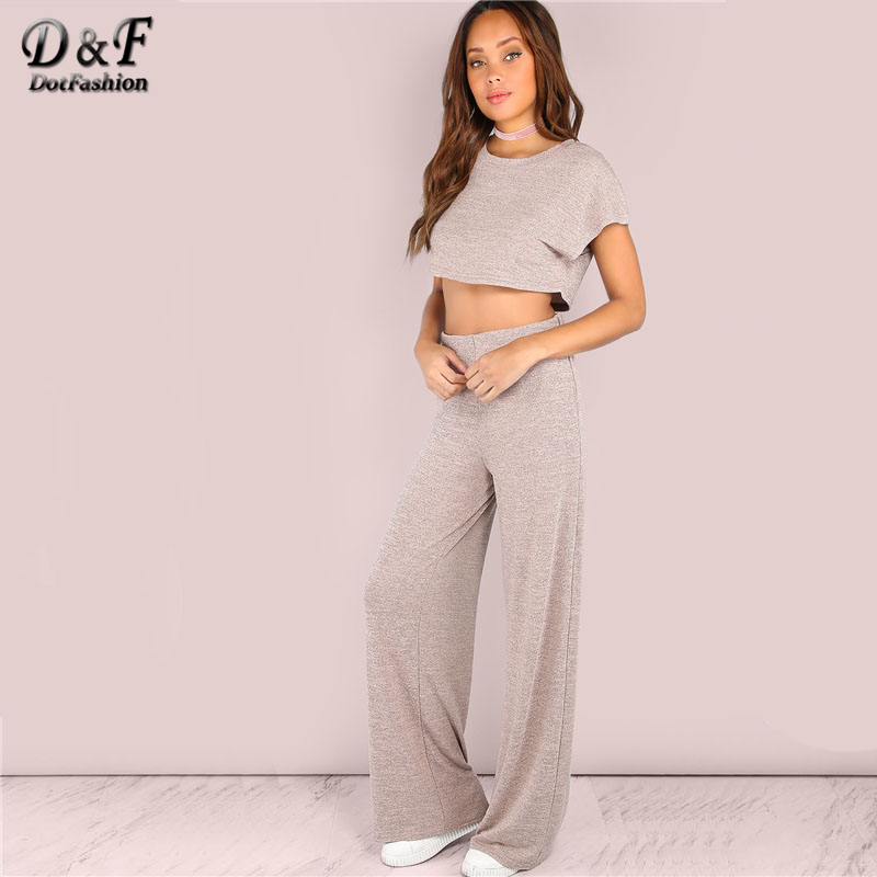 Dotfashion Heathered Crop Top and Wide Leg Pants Set BLUSH Women Summer Short Sleeve Pink Top Pockets Round Neck Two Piece Sets