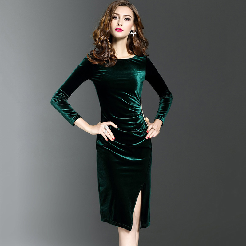<font><b>2018</b></font> New Spring <font><b>Autumn</b></font> Plus Size <font><b>Bodycon</b></font> Dress Slim Thin <font><b>Fashion</b></font> Dress Vintage <font><b>Elegant</b></font> Party Dress Split <font><b>Sexy</b></font> <font><b>Women</b></font> Dress YP0753 image