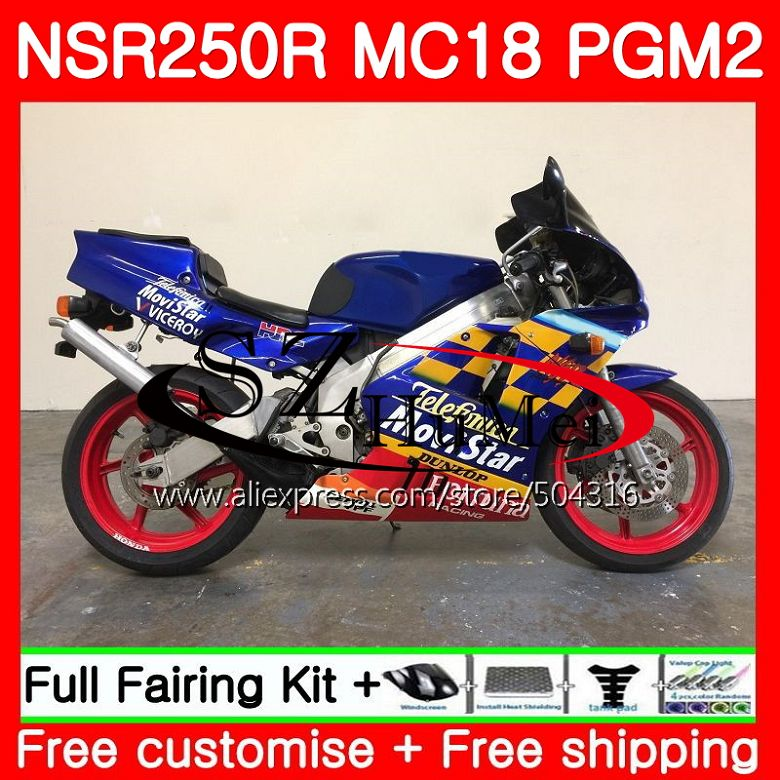 MC18 For HONDA PGM2 NSR250 <font><b>NSR</b></font> <font><b>250</b></font> R NSR250R 88 89 Movistar Blue 124SH17 MC16 <font><b>NSR</b></font> 250R NS250 RR NSR250RR 1988 1989 88 89 Fairing image
