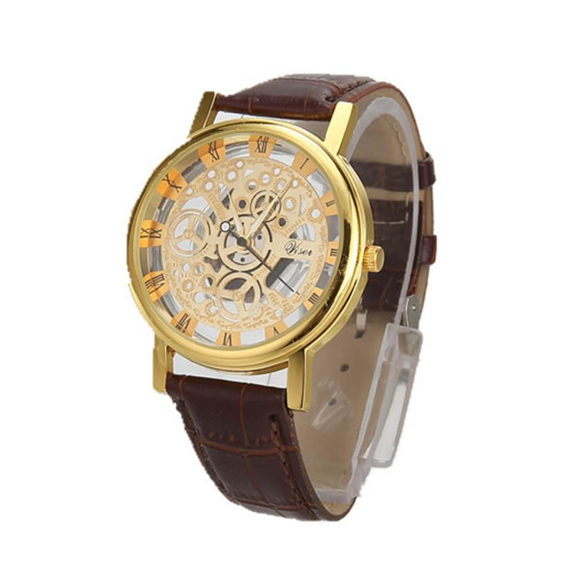 Men Luxury Stainless Steel Quartz Military Sport Leather Band Dial Wrist Watch J6272