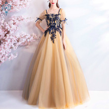 Ameision Elegant Evening Dresses 2019 Tulle Short Seleeves Deep Yellow A-ling Floor Length Plus size Custom Long Formal Dress