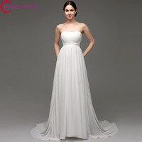 Wedding Dress Vintage A Line Chiffon Beach Sweep Train Wedding Gown Beaded Simple Backless Cheap China