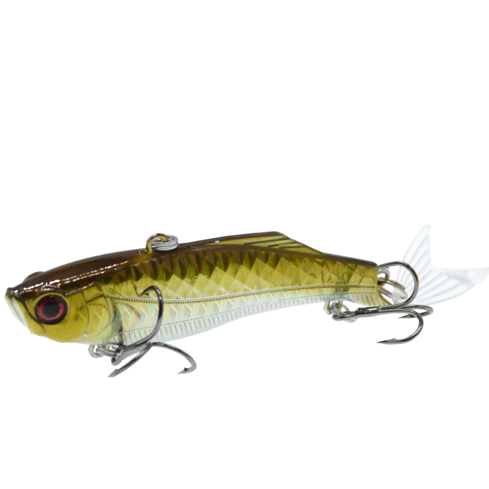 Image 2 - 1PCS 8.3cm/23g Winter Sea Hard Fishing Lure VIB Bait 3D eyes With Lead Inside Diving Swivel Jig Wing Wobbler Crankbait-in Fishing Lures from Sports & Entertainment