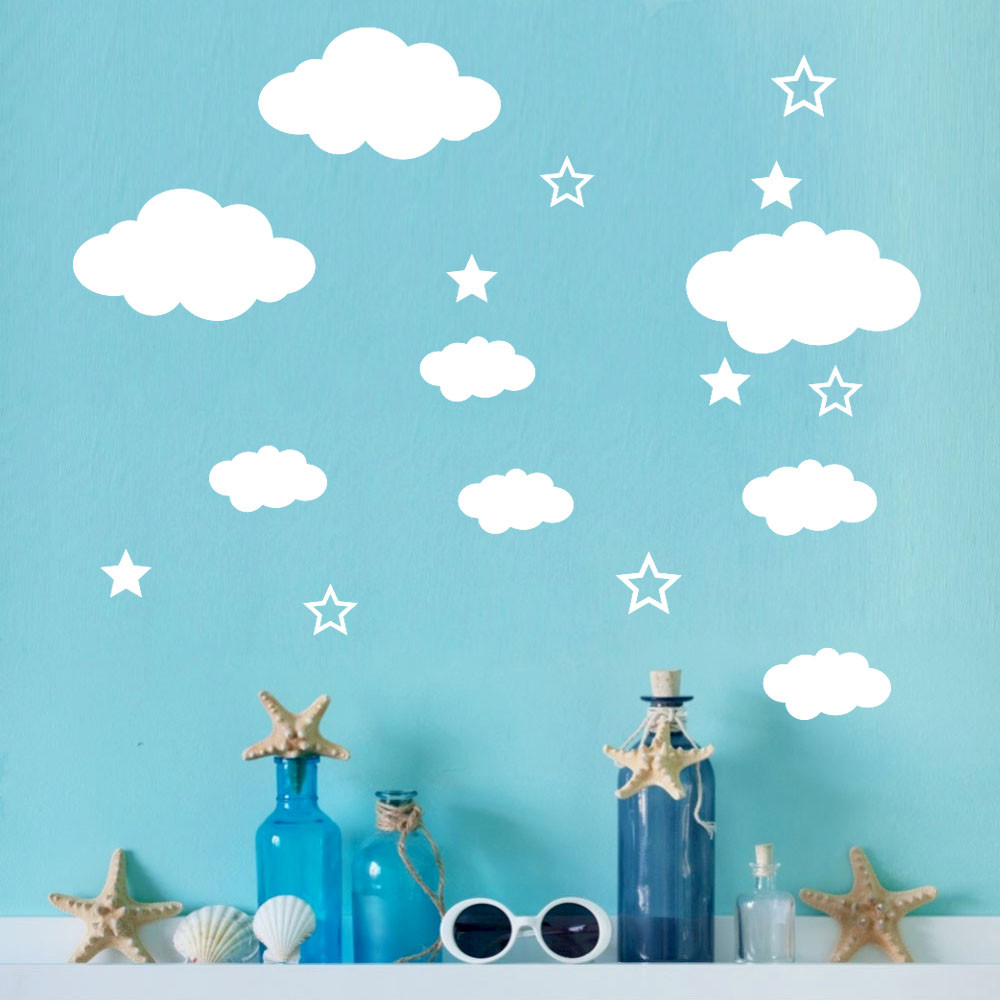 Hot Large DIY Clouds Wall Decals Children's Room Home Decoration Art Vinyl Wall Sticker Removable For Kids Rooms Art Background