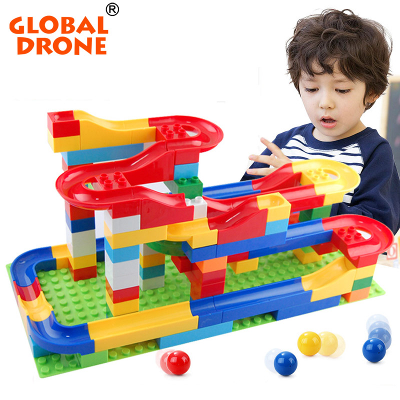 Global Drone Funny Rolling Ball Rail Building Blocks DIY Construction Marble Race Run Maze Balls rail Track Educational Toys large electric maze ball track marble race run blocks diy inserted building blocks early educational puzzles toys for children